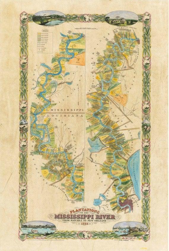 "... Plantation Map 1858 36"" x 57"" Handpainted Historical Map Original: https://www.etsy.com/listing/105279750/mississippi-river-plantation..."