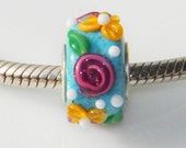 Peace, Love, Garden Charm Bead- fits European Bracelets- By Fire-Imp Lampwork Beads