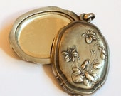 CHRISTMAS Holiday Sale, CHRISTMAS SALE, Art Nouveau Slide Locket Violets European Silver Vintage Jewelry, Gift for Her
