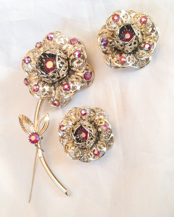 cov jewelry coventry vintage jewelry set rhinestone flower brooch 8450