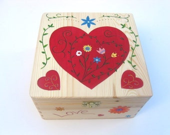 XLarge Valentine's memory box, Valentine's keepsake box, Valentine's gift, Wooden, hand-painted box with heart design
