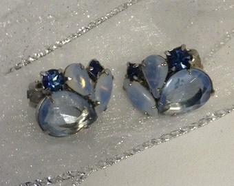Amazing 1950s blue glass clip on earrings