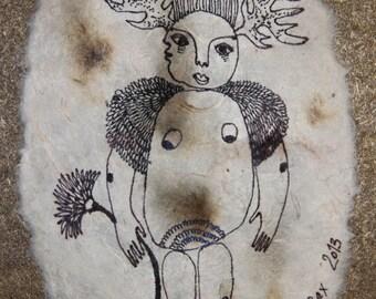 IVAN - ORIGINAL painting on canvas - 12,5cm x 17,5cm - 4,9'' x 6,89'' -  Black White woman