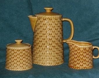 Coffee Tea Server Set with Cream Pitcher & Sugar Bowl Ceramic Basket Weave  Vintage