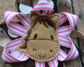 Embroidered Horse Felt Centered Loopy Hairbow