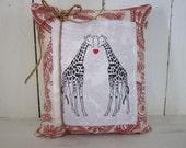 50% CLEARANCE SALE Giraffes pillow, love pillow, hearts, giraffes, shabby chic pillow, valentines day , farmhouse decor, hearts