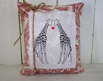 50% CLEARANCE SALE Giraffes pillow, love pillow, hearts, giraffes, shabby chic pillow, valentines day , farmhouse decor, hearts