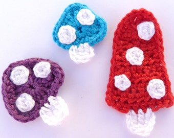 Nature appliques, Crochet appliques, 3 crochet toadstools,  cardmaking, scrapbooking, appliques, craft embellishments, sewing accessories.