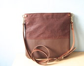 Leather Cross Body Bag - Little HARRIS -  Adjustable Brown Leather and Waxed Canvas Shoulder Bag Leather Travel Bag by Holm