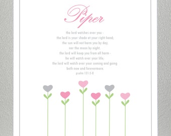 baby dedication gift - Bible Verse - Psalm 121: 5-8 - with custom name