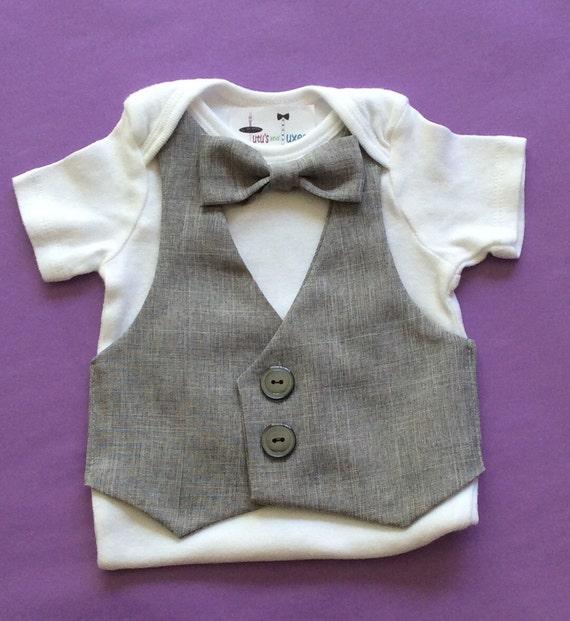 baby vest baby onesie vest baby vest bow tie gray onesie