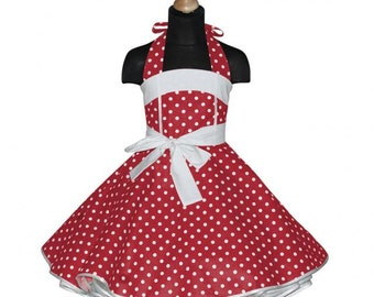 Girls 50's dress for petticoat custom made in red with white polka dots