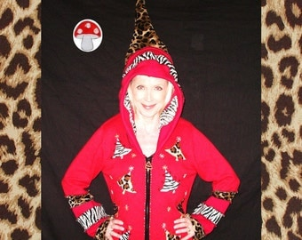 AFTER CHRISTMAS SALE 1/2 Off Santa Claws Elf Hoodie Size Large Red Meowy Christmas Zippy Cardigan Leopard Xmas Trees White Tiger Recycled