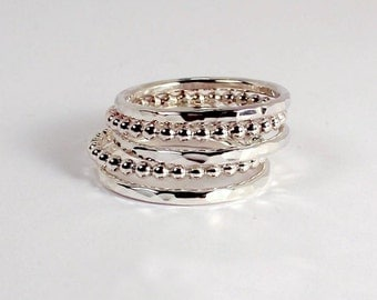 5 Silver Stacking Rings, Beaded and Hammered Mix,  Sterling Silver, Made to Order
