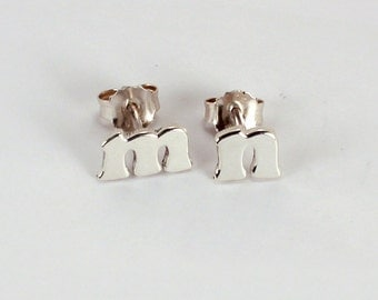 Pair of Letter Earrings, Sterling Silver, Made to Order