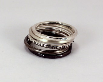 5 Ombre Mixed Stacking Ring Set, Sterling Silver, Made to Order