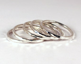 5 Hammered Silver Stacking Ring Set, Sterling Silver, Made to Order