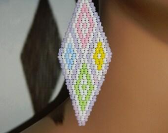 EXCLUSIVE Native American Pretty Pastel Phestola (Diamond Shape) Beaded Earrings for Easter