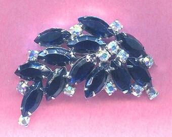 SALE! Vintage Midnight Blue & AB Rhinestone Brooch