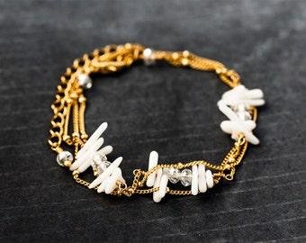 611_Gold bracelet, White coral Bracelet, Coral necklace, Jewelry corals, Chain bracelet, Chain necklace, Natural coral bracelet. 2 in 1