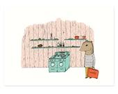 Chipmunk At Home Print 5 x 7 - Chipmunk Print, Woodland Print, Kitchen Art, Kid Art, Nursery Decor, Animal Illustration by Hello Small World