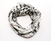 Black and White Lightweight Graphic Floral Scarf - Limited Edition