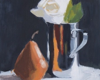 Still Life Painting, White Rose & pear, oil on wood panel, 8x8 inch Canadian Art
