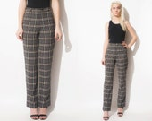 Vintage BURBERRY 90s High Waist PLAID Print Perfect Pants // Slight bell Flare