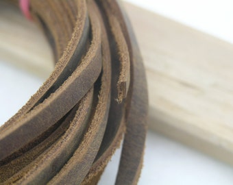 10 YARD 5.0x2.0mm Flat Vintage Brown Soft Real Cowhide Leather Cord Without Clasp Lobster