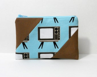 Zipper Pouch, Retro TVs in Blue, Coin Pouch, One of a Kind