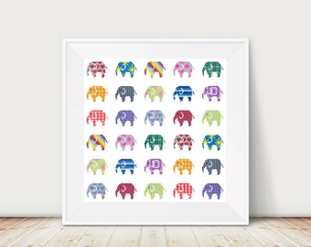 Elephant cross stitch pattern, PDF, Instant Download, DMC Threads