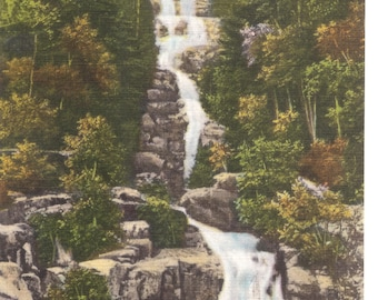 Vintage Linen Postcard...Silver Cascade, White Mountains, New Hampshire ...Used, 1951....no. 2681