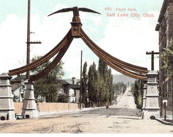 Vintage Postcard...Eagle Gate, Salt Lake City, Utah...Unused...no. 3226