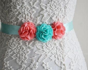 Coral and Aqua, Bridal Sash Belt, Mint, Chiffon Flowers, Bridesmaid Flower Belt, Flower Girl, Wedding,  Tie Back Hair Band, Girl Dress Belt