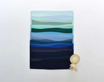 Ocean Mini Quilt, Nautical Wall Decor, Quilted Wall Hanging, Ocean, Waves, Fiber Art, Blue, Indigo, Nautical, Ombre