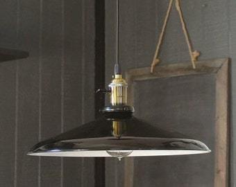 "Black Pendant Light Large 14"", Barn Lights, Vintage Lighting, Industrial Pendant Light, Industrial Lighting with Edison Bulb, Kitchen Light"