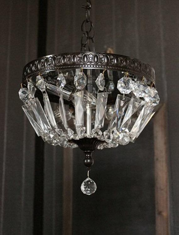 Flush Mount Chandelier Lighting Vintage Prism Light Fixture