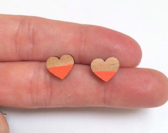 Wood laser cut earrings studs - large heart halfsy geometric handpainted tangerine orange