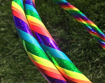 Glitter Rainbow dance & exercise Hula Hoop COLLAPSIBLE or Push Button  - Colorful