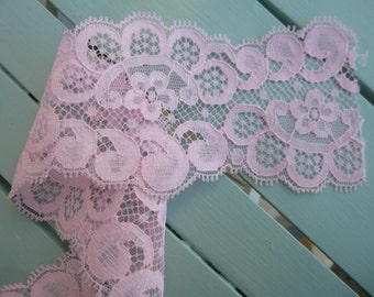 "Vintage Pink Nylon Lace Flowers with Scalloped Edge 2 Rolls C. 1970 Huge amount 2 7/8"" wide"