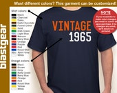 VINTAGE 1965 (or any year you'd like) 50th Birthday T-shirt — Any color/Any size - Adult S, M, L, XL, 2XL, 3XL, 4XL, 5XL