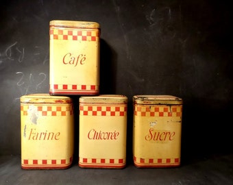 4 French Vintage Tin Canisters - 1930s -  Lustucru - Shabby Chic Boxes  Kitchen Decor . French Country Kitchen Storage.