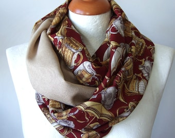 Infinity scarf for traveler / color block loop / unisex circle scarf / burgundy & sand beige shawl / double layer scarf / handmade scarf