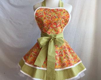 woman's retro apron in orange paisley