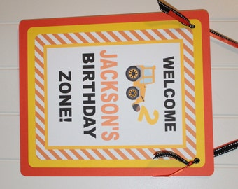 CONSTRUCTION ZONE Happy Birthday or Baby Shower Door or Welcome Sign - Party Packs Available