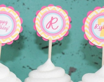 GIRLY CHEVRON Birthday Bridal Shower Baby Shower Cupcake Toppers 12 {One Dozen} Pink Yellow Blue - Party Packs Available