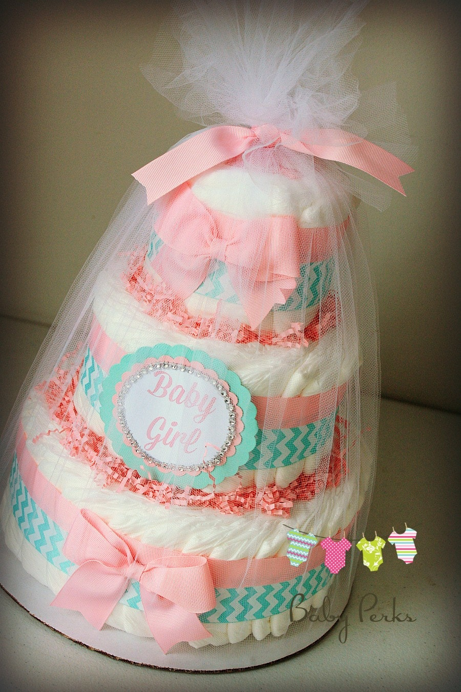Pink and aqua baby shower baby shower diaper cake pink and for Baby shower decoration diaper cake