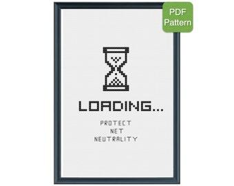 Cross Stitch Pattern - Protect Net Neutrality, Keep the Web Free, INSTANT DOWNLOAD, geeky cross stitch, DIY cross stitch