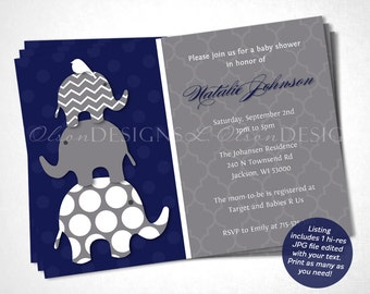 Navy Elephants Baby Shower Invitation - DIY Printable