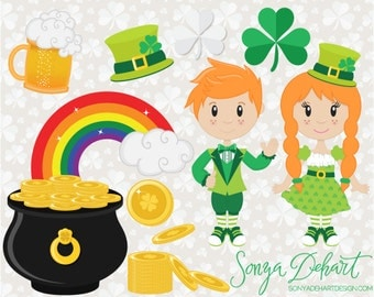 80% OFF Sale Saint Patrick's Day, Clipart, Pot of Gold, Clip Art, Irish Clipart, Irish Clip Art, Beer Clipart, Rainbow Clipart